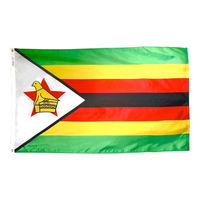 3x5 ft. Nylon Zimbabwe Flag Pole Hem Plain