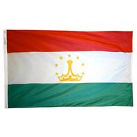 3x5 ft. Nylon Tajikistan Flag Pole Hem Plain
