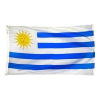 5x8 ft. Nylon Uruguay Flag with Heading and Grommets
