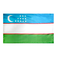 3x5 ft. Nylon Uzbekistan Flag Pole Hem Plain
