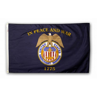 4x6 ft. Nylon Merchant Marine Flag with Pole Hem Plain