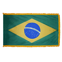 5x8 ft. Nylon Brazil Flag Pole Hem and Fringe