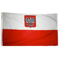 3x5 ft. Nylon Poland Flag (Eagle) with Heading and Grommets