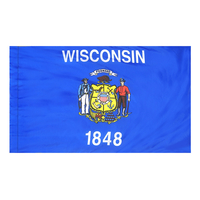 4x6 ft. Nylon Wisconsin Flag Pole Hem Plain