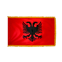 2x3 ft. Nylon Albania Flag Pole Hem and Fringe