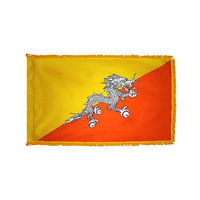 3x5 ft. Nylon Bhutan Flag Pole Hem and Fringe