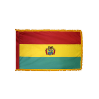 2x3 ft. Nylon Bolivia Flag Pole Hem and Fringe