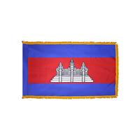 3x5 ft. Nylon Cambodia Flag Pole Hem and Fringe