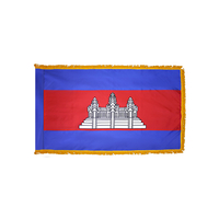 2x3 ft. Nylon Cambodia Flag Pole Hem and Fringe