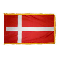 3x5 ft. Nylon Denmark Flag Pole Hem and Fringe