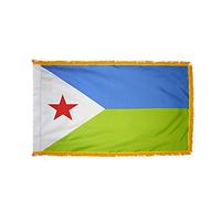 2x3 ft. Nylon Djibouti Flag Pole Hem and Fringe