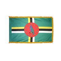 4x6 ft. Nylon Dominica Flag Pole Hem and Fringe