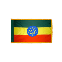 3x5 ft. Nylon Ethiopia Flag Pole Hem and Fringe