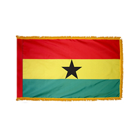2x3 ft. Nylon Ghana Flag Pole Hem and Fringe