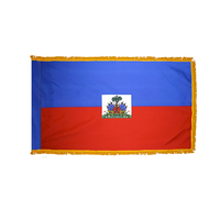 3x5 ft. Nylon Haiti Flag Pole Hem and Fringe