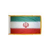3x5 ft. Nylon Iran Flag Pole Hem and Fringe
