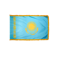 3x5 ft. Nylon Kazakhstan Flag Pole Hem and Fringe