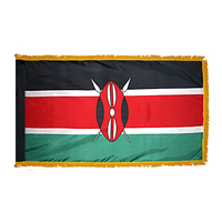 2x3 ft. Nylon Kenya Flag Pole Hem and Fringe