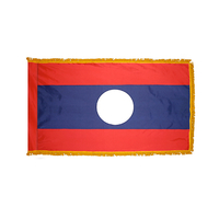 3x5 ft. Nylon Laos Flag Pole Hem and Fringe