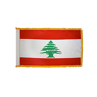 3x5 ft. Nylon Lebanon Flag Pole Hem and Fringe