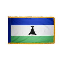 4x6 ft. Nylon Lesotho Flag Pole Hem and Fringe