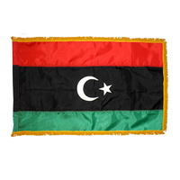 4x6 ft. Nylon Libya Flag Pole Hem and Fringe