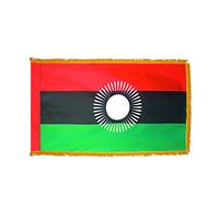 3x5 ft. Nylon Malawi Flag Pole Hem and Fringe