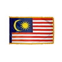 3x5 ft. Nylon Malaysia Flag Pole Hem and Fringe