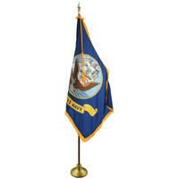 3 x 5ft. Navy Flag Indoor Display Set w/ Gold Fringe