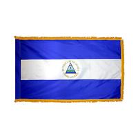 3x5 ft. Nylon Nicaragua Flag Pole Hem and Fringe