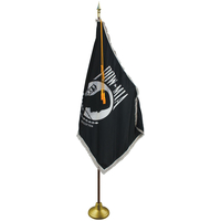 4 x 6ft. POW-MIA Flag DBL Indoor Display Set-No Fringe