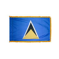 4x6 ft. Nylon St. Lucia Flag Pole Hem and Fringe