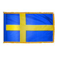 2x3 ft. Nylon Sweden Flag Pole Hem and Fringe