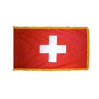 3x5 ft. Nylon Switzerland Flag Pole Hem and Fringe