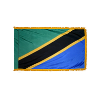 4x6 ft. Nylon Tanzania Flag Pole Hem and Fringe