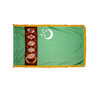 3x5 ft. Nylon Turkmenistan Flag Pole Hem and Fringe