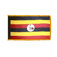 2x3 ft. Nylon Uganda Flag Pole Hem and Fringe