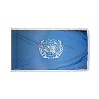 3x5 ft. Nylon United Nations Flag Pole Hem and Fringe