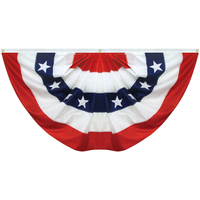 3x6 ft. Nylon Pleated Fan Flag with 5 Stripes and Stars