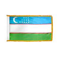 3x5 ft. Nylon Uzbekistan Flag Pole Hem and Fringe