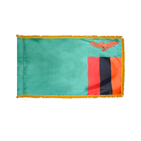 3x5 ft. Nylon Zambia Flag Pole Hem and Fringe