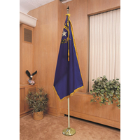 Adj. Aluminum Flag Pole Display Set, 8 lb base with Eagle Topper