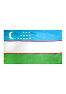 4x6 ft. Nylon Uzbekistan Flag Pole Hem Plain