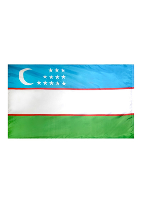 5x8 ft. Nylon Uzbekistan Flag with Heading and Grommets