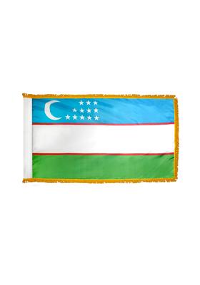 3x5 ft. Nylon Uzbekistan Flag Pole Hem and Fringe
